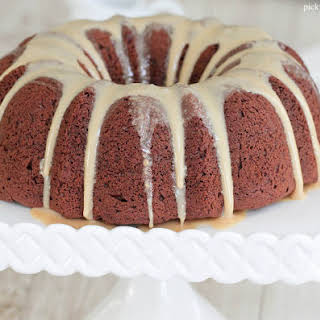 Chocolate Peanut Butter Bundt Cake with Sweet Peanut Butter Icing.