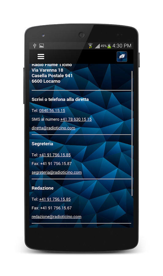 RFT Radio Fiume Ticino APP- screenshot