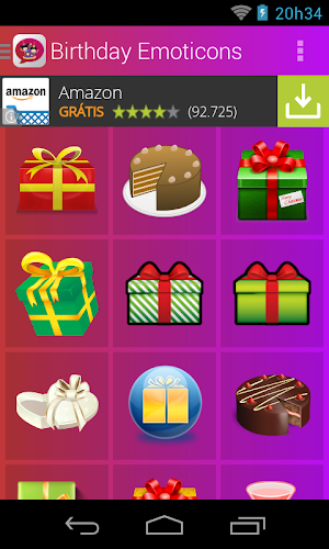 Birthday Emoticons Android App Screenshot
