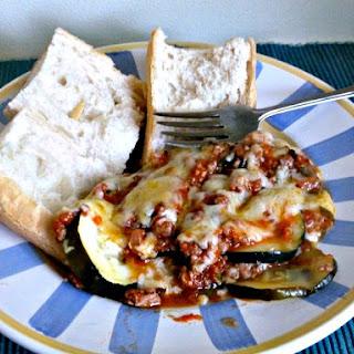Layered Zucchini with Ground Turkey and Fresh Tomatoes.