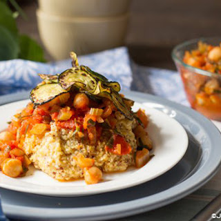 Polenta with Savory Tomato Chickpea Sauce Recipe