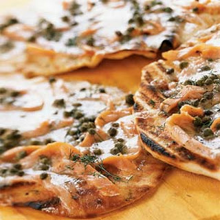 Grilled Pizzettes With Smoked Salmon and Capers.