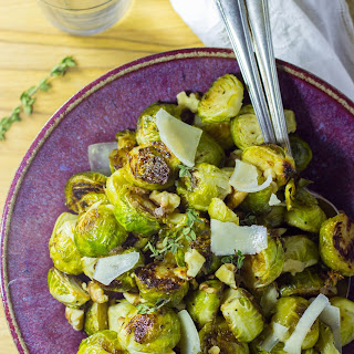 Maple & Dijon Roasted Brussels Sprouts with Toasted Walnuts & Parmesan