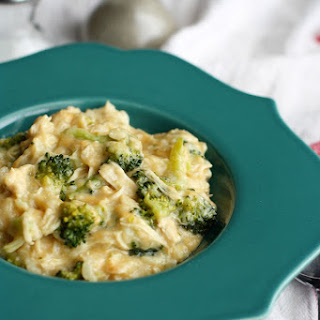 Slow Cooker Cheesy Broccoli Chicken Rice.