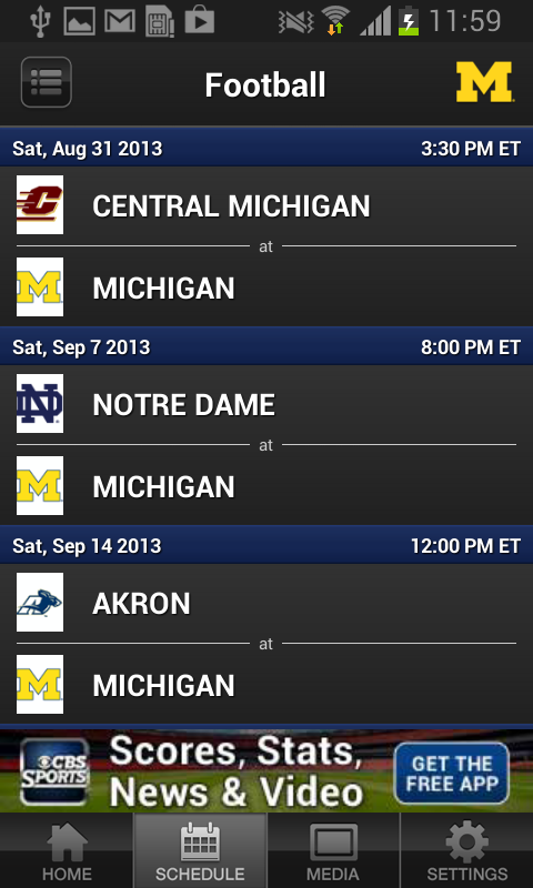 University of Michigan Sports - screenshot