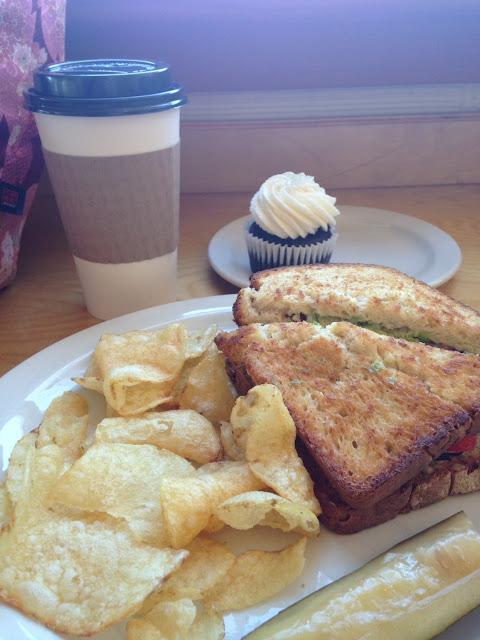 BLATO sandwich, chocolate vanilla cream cupcake and hemp milk chai.