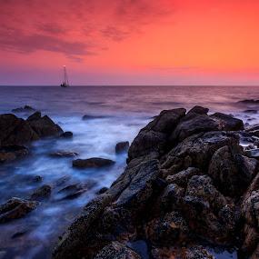 Mull of Galloway Sunrise by John Crongeyer - Landscapes Sunsets & Sunrises ( water, orange, nature, colorful, sunset, rocky, beautiful, sea, ocean, sunrise, landscape, coastal,  )