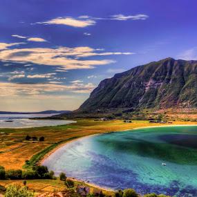 Blue summer by Sondre Gunleiksrud - Landscapes Waterscapes ( canon, hdr, seascapes, farmland, sea, beach, seascape, seaside, sunlight, sun, sun rays, norway, sunny, sunshine, sun light )