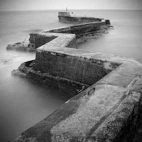 St Monans Breakwater. by Bob Dick - Landscapes Waterscapes ( water, black and white, pier, long exposure, , b&w, landscape )