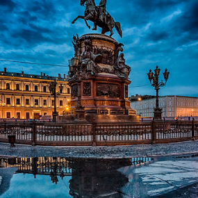 Monument to Nicholas I by Alex Shanti - City,  Street & Park  Night ( reflection, night, monument, st. petersburg, , serenity, blue, mood, factory, charity, autism, light, awareness, lighting, bulbs, LIUB, april 2nd )