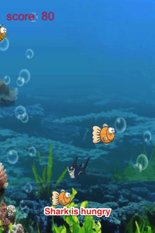 卡通海洋世界:飢餓的魚