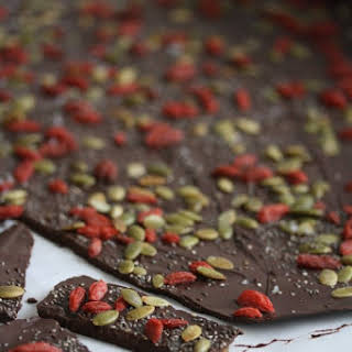 Dark Chocolate Beauty Bark with Chia Seeds, Pepitas, and Goji Berries.