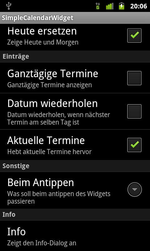 SimpleCalendarWidget - screenshot