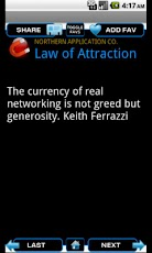 law of attraction quote screen on android phone
