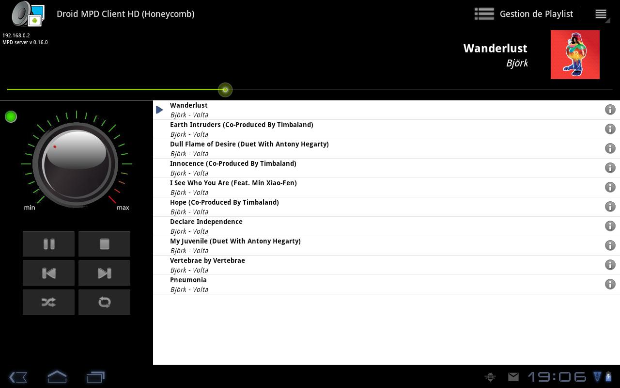 Droid MPD Client HD Free - screenshot