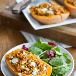 Twice Baked Butternut Squash (with quinoa and gorgonzola).