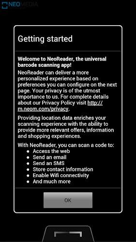 NeoReader QR & Barcode Scanner Android App Screenshot