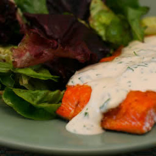 Broiled Wild Salmon with Mustard-Mint-Parsley Sauce.
