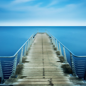 Jetty and open sea. by Per-Ola Kämpe - Landscapes Waterscapes ( water, clouds, sky, blue, sea, ocean, seascape, jetty, landscape,  )