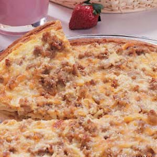 Sausage and Hashbrown Breakfast Pizza.