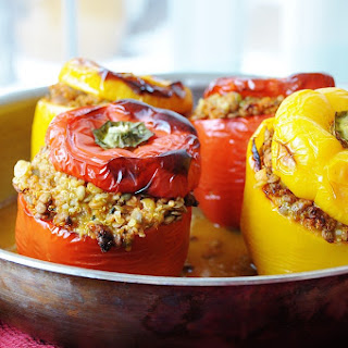 Lentil Quinoa and Vegetable Stuffed Peppers.