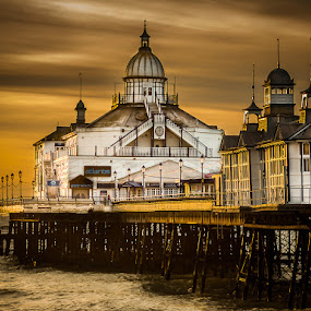 Eastbourne Pier by Dave Angood - Buildings & Architecture Architectural Detail ( clouds, moody, sea, pier, historical, architecture )