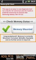 Screenshot of SD Card / Memory Check