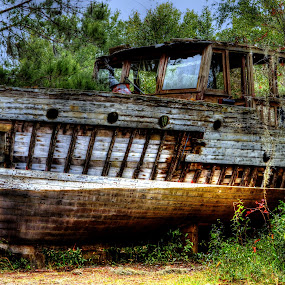 Forgotten Beauty by Brent Sharp - Transportation Boats ( wooden, hdr, boat, rustic, abandoned,  )