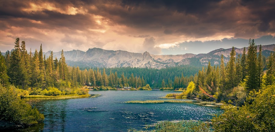 Mountain Lake by Wolfgang Moritzer - Landscapes Mountains & Hills ( clouds, thunder, water, mammoth lakes, mountain, sky, trees, lake, storm, usa )