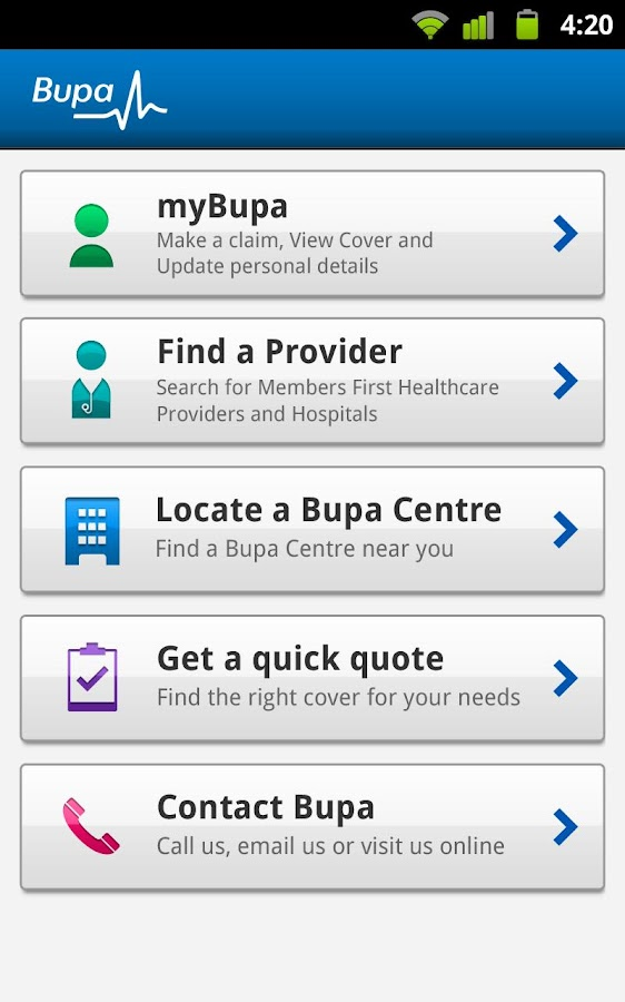 Bupa - screenshot