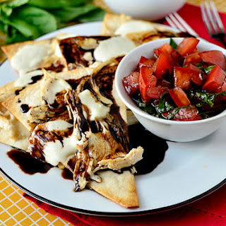 Caprese Chicken Nachos with Marinated Tomatoes