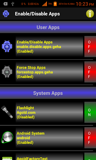 Enable Disable Applications