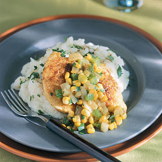 Pan-Fried Cornmeal Chicken with Corn and Onions