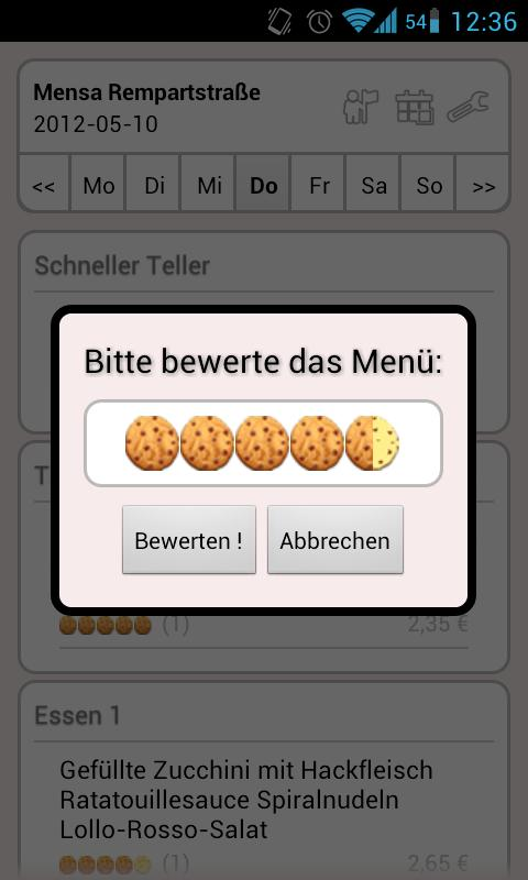Mensa Freiburg - screenshot