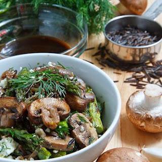 Warm Mushroom, Roasted Asparagus and Wild Rice Salad with Feta.