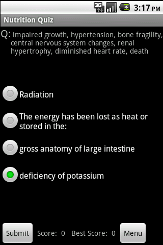 Nutrition & Vitamin Study Aid - screenshot