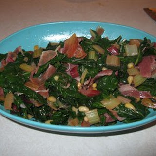 Red Swiss Chard with Pine Nuts and Prosciutto.