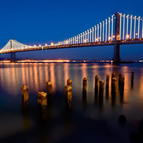 The Bay Bridge as Art by Andrew Tolsma - Landscapes Travel ( sky, bay, blue, reflections, piles, bridge, llights, san francisco,  )