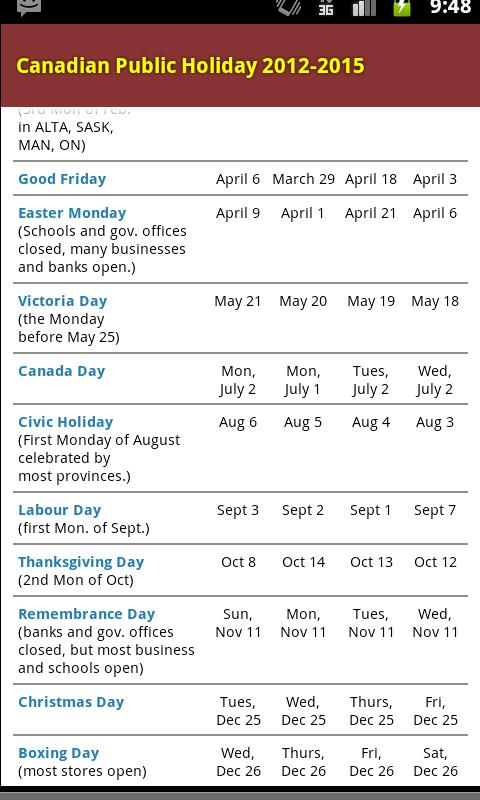 Canadian Public Holiday - screenshot