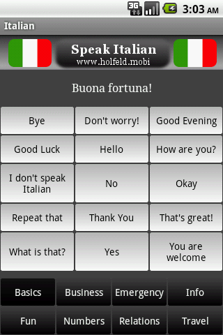 Speak Italian Free - screenshot