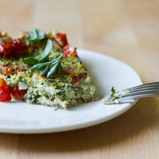 Roasted Tomato, Kale, + Herb Tofu Quiche with Oat Almond Crust gluten-free, vegan // yields 1, 9-inch quiche ~4 servings