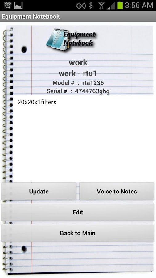 HVAC Equipment Notebook - screenshot