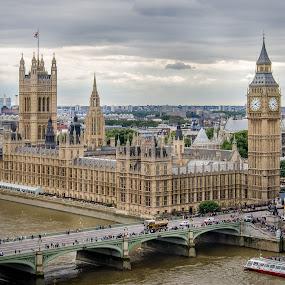 Same Ben... by Bogdan Rusu - Buildings & Architecture Public & Historical ( london eye, thames, big ben, boat, storm )