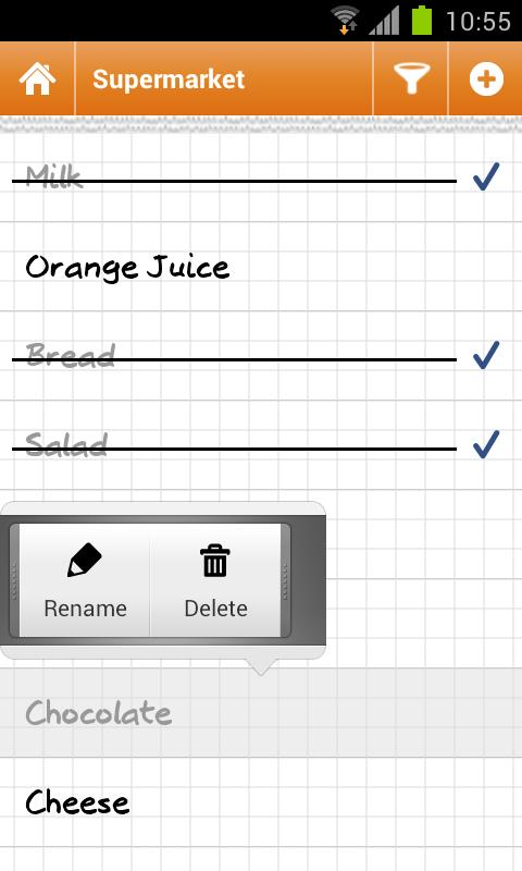 Grocery list Courzeo- screenshot