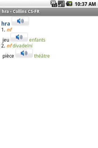 French<>Czech Gem Dictionary - screenshot