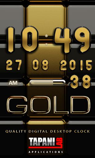 Digi Clock Black Gold widget