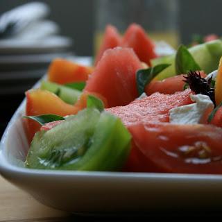 Watermelon, Tomato & Goats Cheese Salad With Lemon Truffle Vinaigrette.