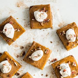 Vegan Pumpkin Pie Squares with Gluten-Free Graham Cracker Crust.