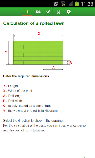 Calculation a rolled lawn