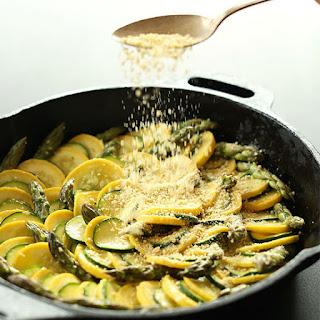 Vegan Zucchini Asparagus Gratin